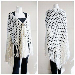 Vintage 70s Open Knit Hand Made Triangular Shawl
